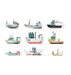 fishing ship marine sea or ocean transport vector image
