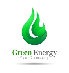 Flame Bright Green energy logo template vector