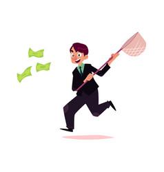 Flat office worker man running for money vector