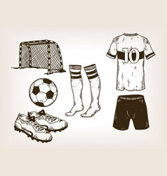 football soccer equipment engraving vector image