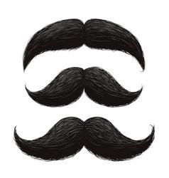 Funny retro hair mustaches set vector