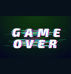 glitch font game over distorted digital lettering vector image