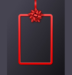 greeting card with red frame ribbon and bow vector image