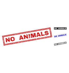 Grunge no animals scratched rectangle stamp seals vector