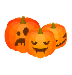 halloween pumpkins icon isometric style vector image