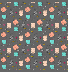 Hand drawn pattern with cute cat vector