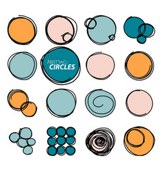 hand drawn round frames circles set sketch vector image