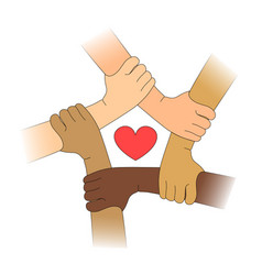 Hands of different races with heart vector