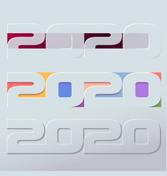 happy 2020 new year colour banner in paper style vector image