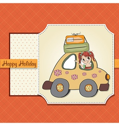 Happy woman going on holiday by car vector