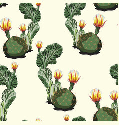 high detail cacti seamless tropical pattern cacti vector image