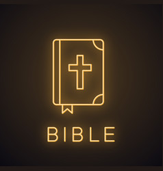 Holy bible neon light icon vector