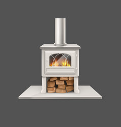 House fireplace with burning firewood vector