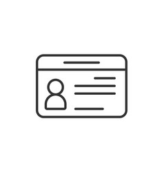 id card icon in flat style identity tag on white vector image