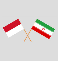 Indonesian and iranian flags vector