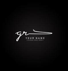 Initial letter gr logo - handwritten signature vector