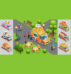 Isometric street food template vector