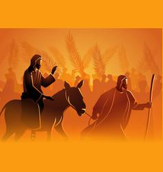 Jesus comes to jerusalem as king vector