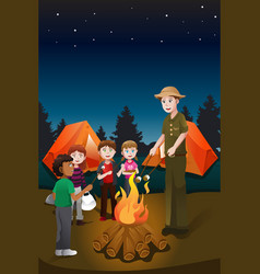 kids in summer camp vector image