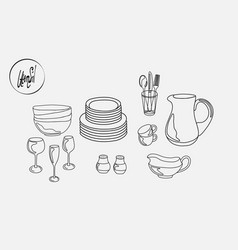 Kitchen utensils plates cups saucers pitcher mug vector