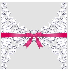 lace border and red ribbon vector image