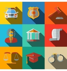 Law justice flat icons set - scales hammer vector