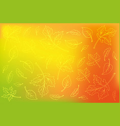 leaves outline on blurred orange background vector image