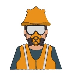 Man with cloth of industrial security design vector