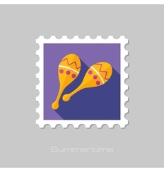 Maracas flat stamp with long shadow vector image