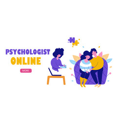 Modern family psychotherapy flat landing page vector