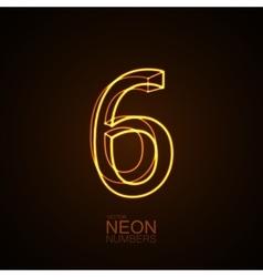 Neon 3D number 6 vector image