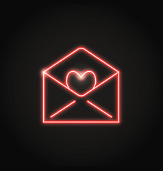 neon mail with heart icon in line style vector image