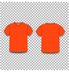 Orange male t-shirt template v-neck front and vector