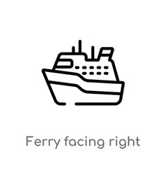 Outline ferry facing right icon isolated black vector