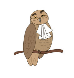 Owl in glasses with jabot vector