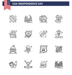 Pack 16 creative usa independence day related vector