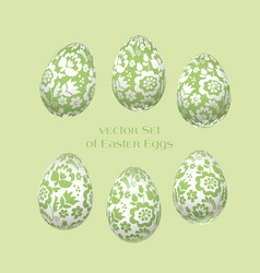 Pale green easter egg decoration floral vector