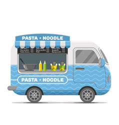 Pasta and noodle street food caravan trailer vector