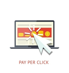 Pay per click with notebook vector