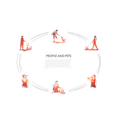 people and pets - people with their dogs vector image