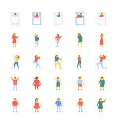 People icons set in flat design vector