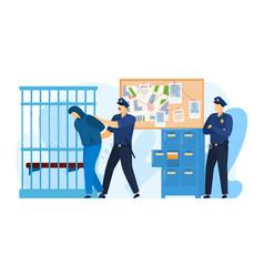 Police station place detention criminal police vector
