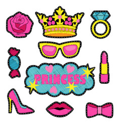 Princess fashion embroidery patch set vector