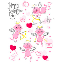 printset wedding and valentines day design vector image