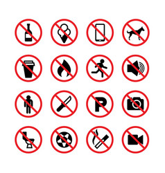 Prohibited signs forbidden icons vector
