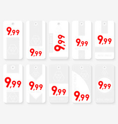 Rectangle sale tags set ten rectangle white vector