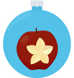 red apple christmas greeting card in blue vector image