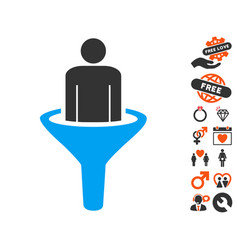 Sales funnel icon with lovely bonus vector