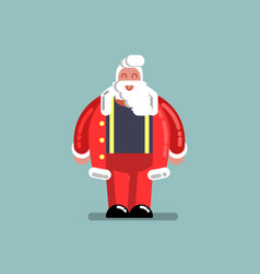 santa standing in unbuttoned jacket vector image