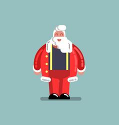 santa standing in unbuttoned jacket vector image